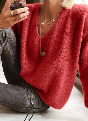 V-Neckline Solid Casual Loose Regular Shift Sweaters