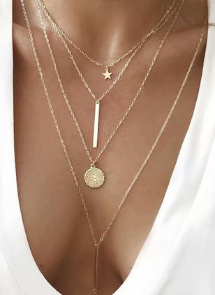 Casual Star No Stone Pendant Necklaces