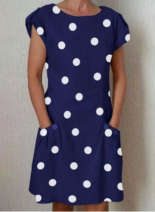 Casual Polka Dot Tunic Round Neckline Shift Dress