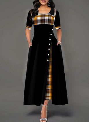 Elegant Plaid Buttons Round Neckline X-line Dress