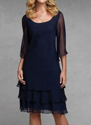 Casual Solid Ruffles Round Neckline X-line Dress