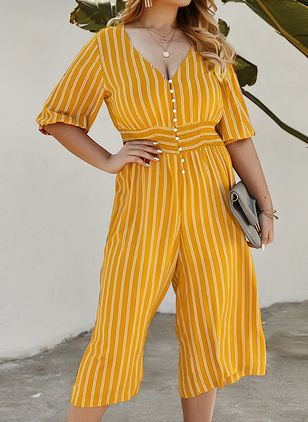 Stripe Half Sleeve Jumpsuits & Rompers