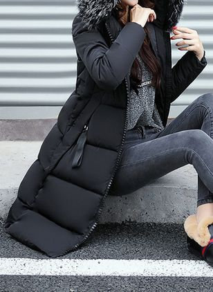Long Sleeve Hooded Zipper Pockets Parkas Coats