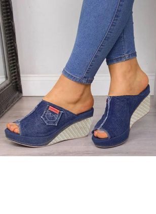 Women's Heels Denim Wedge Heel Sandals