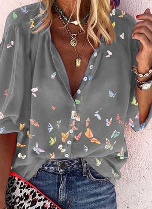 Animal Casual V-Neckline Half Sleeve Blouses