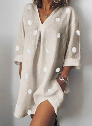 Casual Polka Dot Tunic V-Neckline Shift Dress