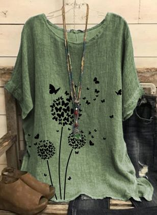 Floral Casual Round Neckline Half Sleeve Blouses