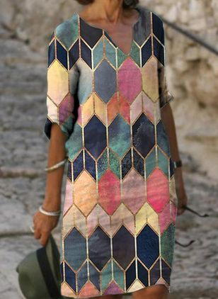 Casual Geometric Tunic V-Neckline A-line Dress