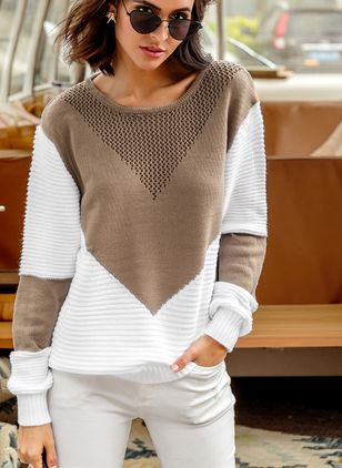 Round Neckline Color Block Loose Shift Sweaters
