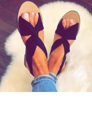 Women's Slingbacks Cloth Flat Heel Sandals