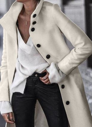 Long Sleeve High Neckline Buttons Coats