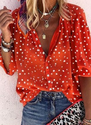 Polka Dot Casual V-Neckline Long Sleeve Blouses