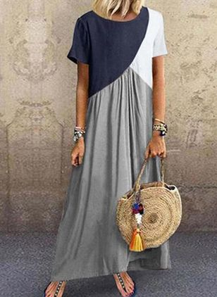 Casual Color Block Tunic Round Neckline A-line Dress