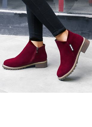Women's Zipper Ankle Boots Round Toe Fabric Low Heel Boots