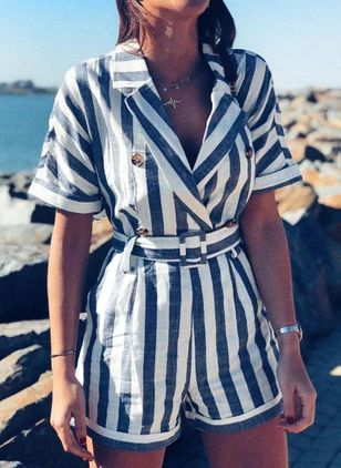 Stripe Short Sleeve Jumpsuits & Rompers