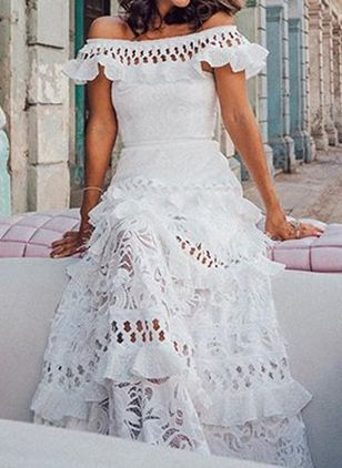 Elegant Solid Lace Off the Shoulder X-line Dress