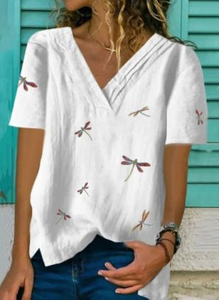 Animal Casual V-Neckline Short Sleeve Blouses
