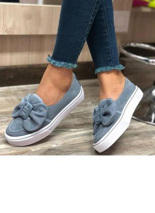 Women's Bowknot Flats Leatherette Canvas Flat Heel Loafers Flats