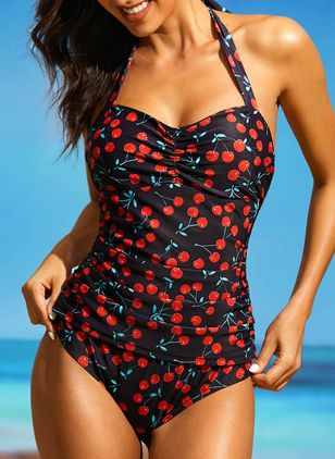 Plus Size Polyester Halter Pattern One-piece Swimwear