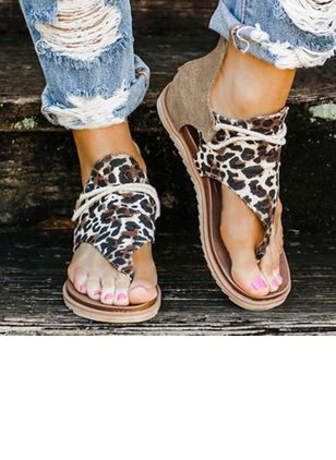 Women's Leopard Lace-up Flip-Flops Flat Heel Sandals