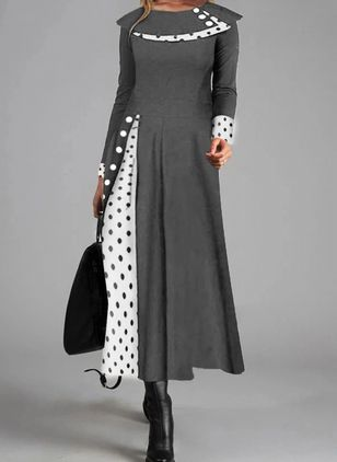 Casual Polka Dot Round Neckline Long Sleeve Maxi Dress