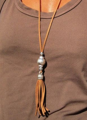 Casual Tassel No Stone Pendant Necklaces