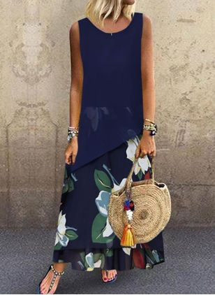 Casual Floral Round Neckline Maxi A-line Dress