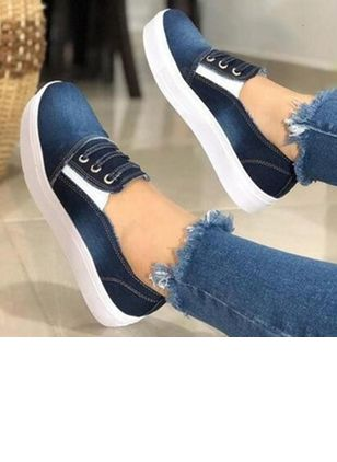 Women's Lace-up Round Toe Canvas Flat Heel Pumps