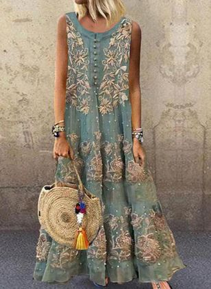 Casual Floral Round Neckline Maxi Shift Dress