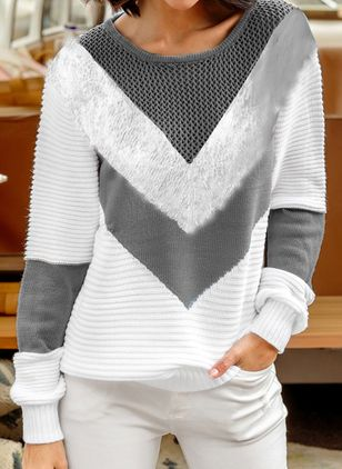 Round Neckline Color Block Casual Short Shift Sweaters