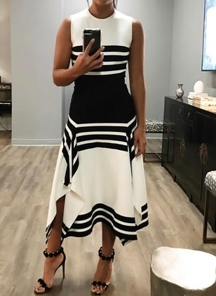 Casual Color Block Round Neckline Midi A-line Dress