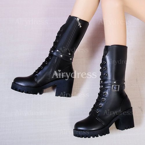 Details about  /Women/'s Mid-calf Boots Chunky Heels Round Toe Lace Up Buckle Casual Shoes Zip